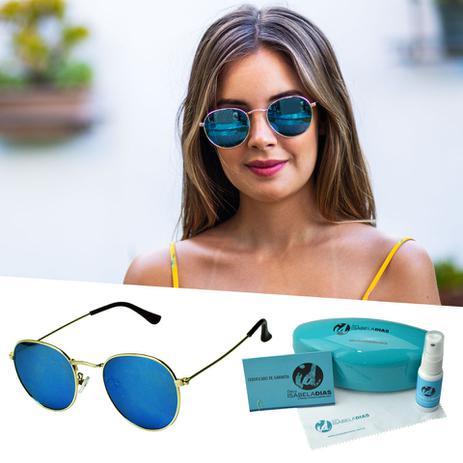 223f1ae2f Oculos De Sol Feminino Redondo Lente Espelhada - Isabela dias ...