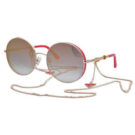 a7633790a73f1 Óculos de Sol Guess Feminino com Corrente GU7606 28U - Metal Laranja e  Dourado, Lente Dourado Espelh