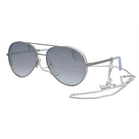 Óculos de Sol Guess Feminino com Corrente GU7607 20C - Metal Prata e Branco  e Lente Prata Espelhado 332fd4e4f6