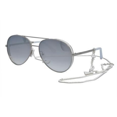 474e6b02372e5 Óculos de Sol Guess Feminino com Corrente GU7607 20C - Metal Prata e Branco  e Lente Prata Espelhado