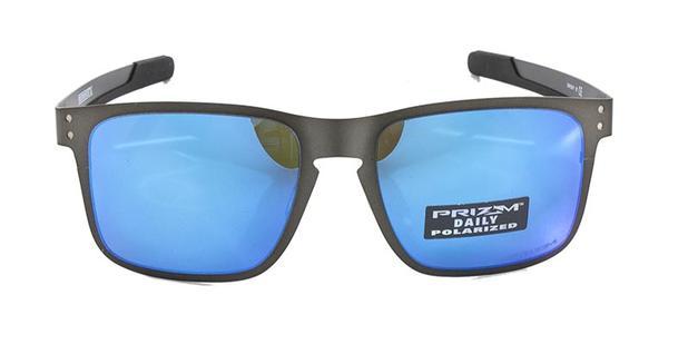 Óculos de Sol Oakley Holbrook Metal OO4123 Grafite Lentes Azul Espelhadas  Polarizadas 649c5cc94c