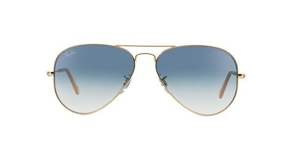 898f60078 Óculos de Sol Ray Ban Aviador Clássico RB3025L 0013F Ouro Lente Azul Degradê  Tam 55 - Ray-ban