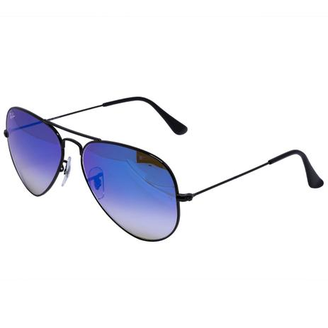 Óculos de Sol Ray Ban Aviador Shiny Black RB3025L - Metal Preto, Lente Azul  Degradê Espelhada 74556be64f