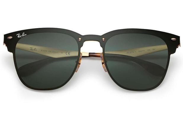 11d695fdd Óculos de Sol Ray Ban Blaze Clubmaster RB3576N 043/71/47 Preto/Dourado  Escovado