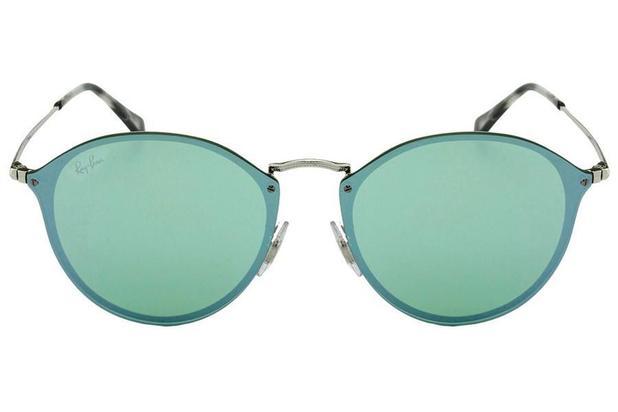 0b9c865e90438 Óculos de Sol Ray Ban Blaze Round RB3574N 003 30 59 Prata Espelhado Verde