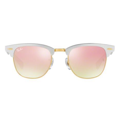 Óculos de Sol Ray Ban Clubmaster Aluminum RB3507 Prata Lente Rosa - Ray-ban ff0613b2b7