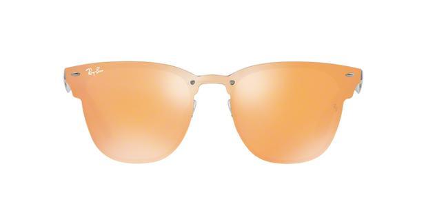 920b9ac00 Óculos De Sol Ray Ban Clubmaster Blaze RB3576 Azul Escovado Lentes Laranja  Ouro Espelhado - Ray-ban