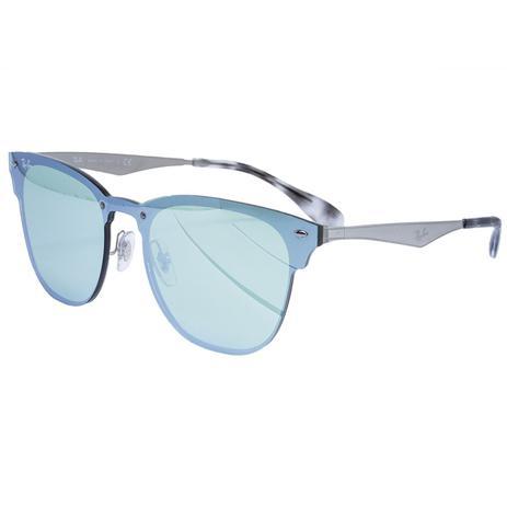 3e69c1f2c3950 Óculos de Sol Ray Ban Clubmaster Blaze Silver - Metal Prata e Lente Azul  Espelhada