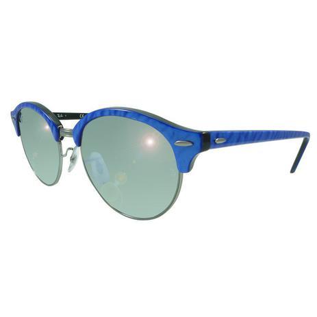 06d98440b Óculos de Sol Ray-Ban Clubmaster Clubround Classic Azul Lente Prata  Brilhante / Espelhado RB4246 - Ray ban