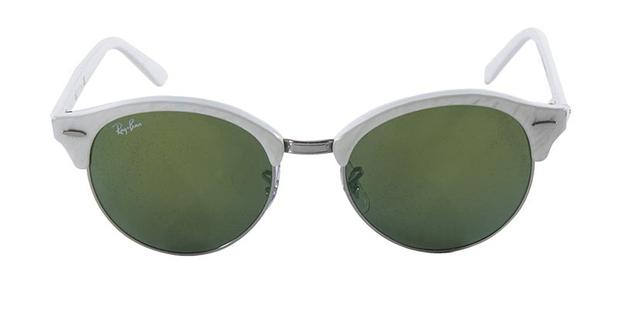 Óculos de Sol Ray Ban CLUBROUND RB4246 Branco Lente Verde Espelhada - Ray- ban eebdda5c8b