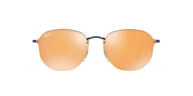 c7adea929 Óculos De Sol Ray Ban Hexagonal Blaze RB3579 Azul Lente Espelhada Laranja  Ouro - Ray-ban