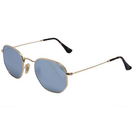 f939db0cb Óculos de Sol Ray Ban Hexagonal Gold RB3548N - metal dourado, lente azul  espelhada