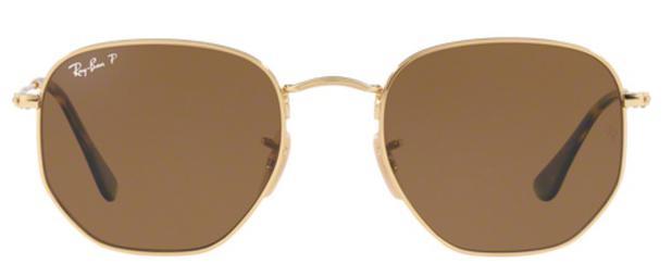 094caffe1 Óculos de Sol Ray Ban Hexagonal Metal RB3548 Ouro Lente Marrom Flat  Polarizada 51 - Ray-ban