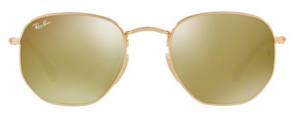 8b71de1b44460 Imagem de Óculos de Sol Ray Ban Hexagonal Metal RB3548 Ouro Lente Ouro Flat  Tam 51