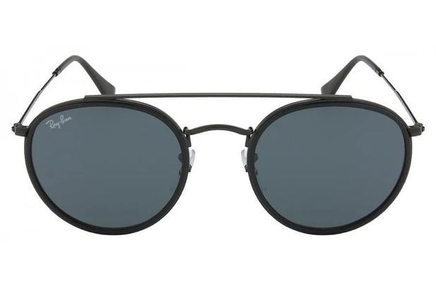 66c617262 Óculos de Sol Ray Ban Round Double Bridge RB3647N 002/R5/51 Preto ...