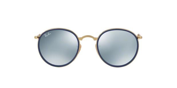 Óculos de Sol Ray Ban Round Folding RB3517 00130 Ouro Lente Prata Espelhada  - Ray-ban 6112d4d5d7