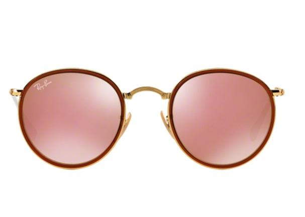 Imagem de Óculos de Sol Ray Ban Round Folding RB3517 001Z251 Ouro Lente  Rosa Espelhada e25fa8c45a