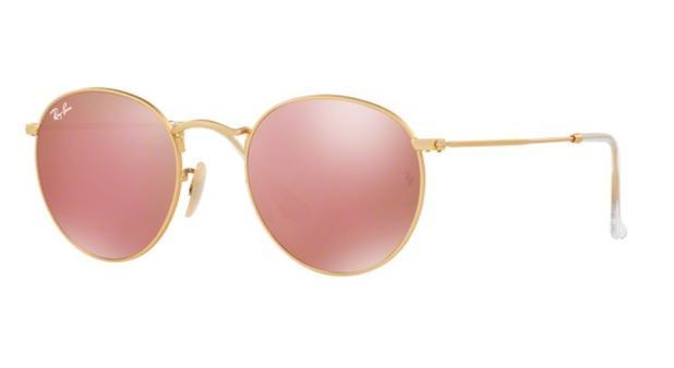 9dfe14e67615a Oculos de sol ray ban round metal rb3447l 112 2z 53 dourado lente rosa  espelhada