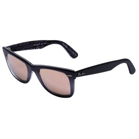99003b97c Óculos de Sol Ray Ban Wayfarer Pixel RB2140 1201/Z8 - Acetato Lilás  Degradê, Lente Espelhada Rosé
