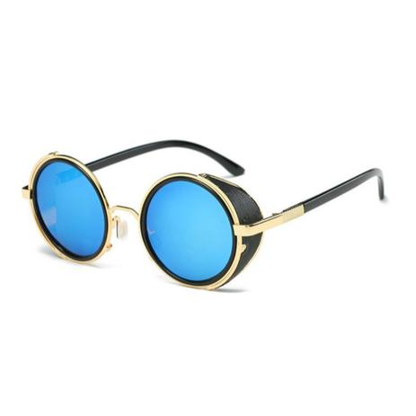 712822ce8 Óculos de Sol Redondo Vintage Steampunk c/ Proteção Lateral - Ilook ...