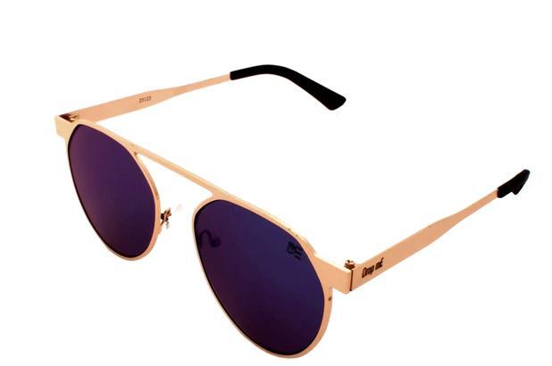 Oculos de sol round drop me dourado lente espelhada azul - Drop me  acessorios a5498f7c50