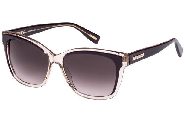 b9b54abd6 Óculos de Sol Victor Hugo SH1742 09Q4/56 Bege Transparente/Roxo ...