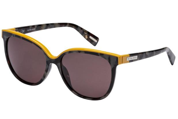 5f2ea7e07 Óculos de Sol Victor Hugo SH1762 09SX/55 Preto Mesclado/Amarelo ...