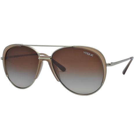 581a07bf85e77 Óculos de Sol Vogue Aviador Feminino VO4097S 848 13 - Metal Dourado e Lente  Marrom