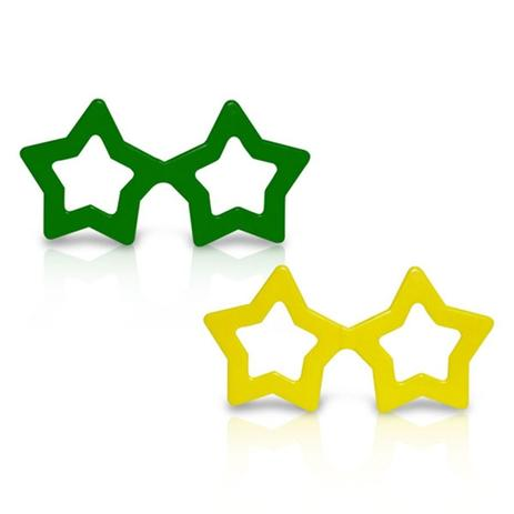 Óculos Estrela Verde e Amarelo 1 unidade - Festabox - Óculos de ... e436a93689