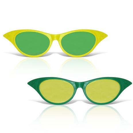 Óculos Gatinha Gigante Plástico com Lente Verde e Amarelo 12 unidades Brasil  - Festabox 3134161c90
