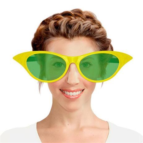 a0ff50bb28b91 Óculos Gatinha Gigante Plástico com Lente Verde e Amarelo Brasil FestaBox