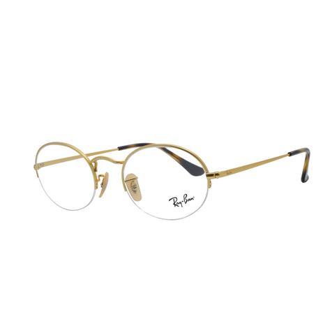 fd8a67009 Óculos Grau Ray Ban Oval com Fio de Nylon Unissex RB6547 3033 - Metal  Dourado
