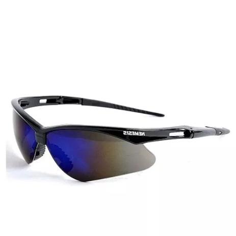Óculos Nêmesis Jackson Armação Preta Lente Azul Espelhado Uv CA - Ideal work b53a3fcff5