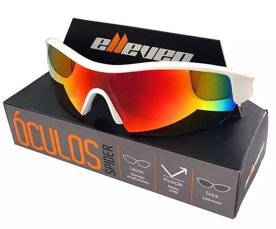 9d9f23291 Oculos para ciclismo elleven spider branco lente espelhada uv400 lente  extra escura