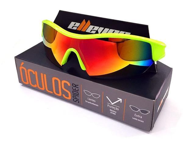 a8153a5af9110 Oculos para ciclismo elleven spider neon lente espelhada uv400 lente extra  escura