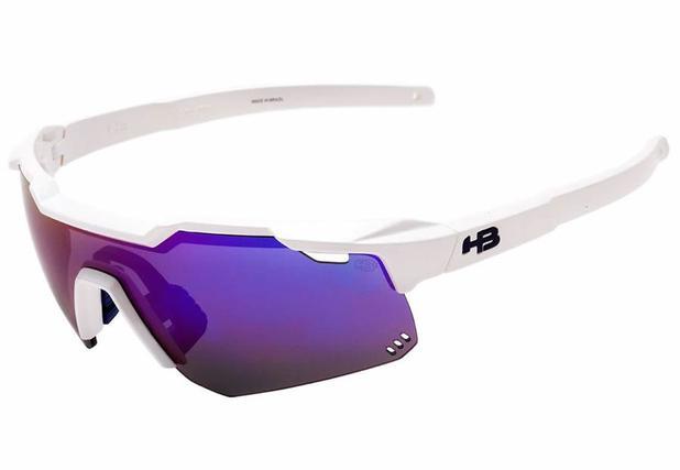 a6e3b338155e3 Oculos para ciclismo hb shield branco perolado pearled white lente  espelhada lilas