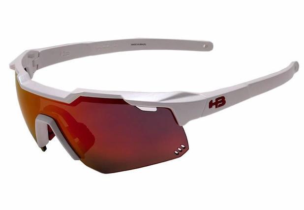 dc4413c5de9f0 Oculos para ciclismo hb shield branco perolado pearled white lente  espelhada vermelha