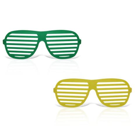 40c71e47b837a Óculos Persiana Plástico Verde e Amarelo 12 unidades Brasil - Festabox