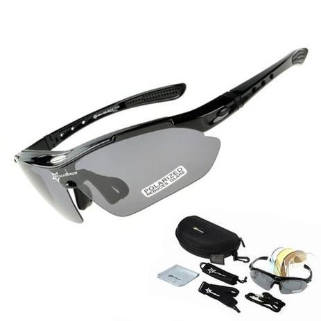7bc3fbaba Óculos Sol Bike Bicicleta Ciclismo Rockbros Polarizado 5 Lentes (apenas 1 é  polarizado) Preto