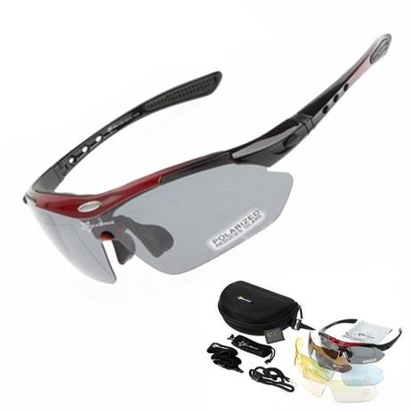 eb032da5a Óculos Sol Bike Bicicleta Ciclismo Rockbros Polarizado 5 Lentes (apenas 1 é  polarizado) Vermelho