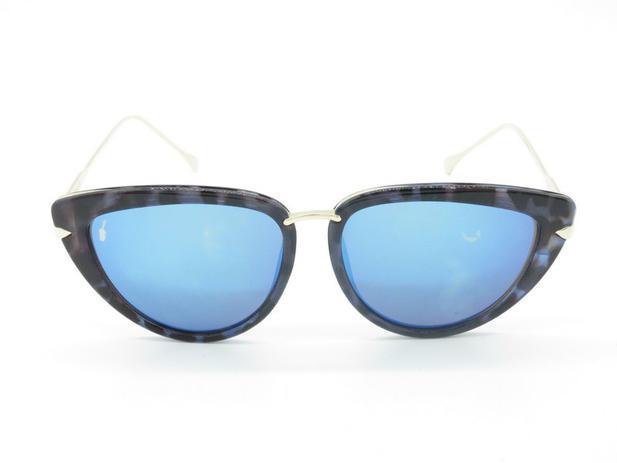 0f550b915 Óculos solar Prorider preto com detalhe de onça e lente azul 5239 ...