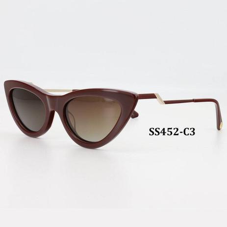 287093ad4 Óculos Solar Sabrina Sato Modelo SS452 C3 Vermelho Acetato L Polarizado  Medida 56-20-145