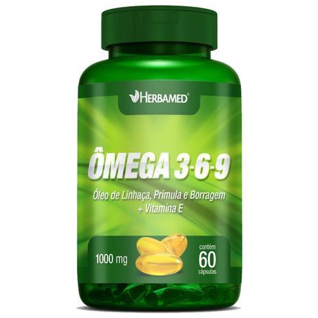 Imagem de Ômega 3, 6 e 9 Linhaça, Prímula E Borragem + Vitamina E - 60 Cápsulas - Herbamed