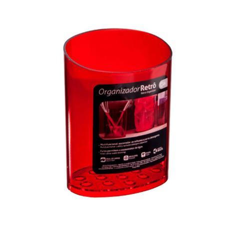 Imagem de Organizador Retrô 11,7 x 8,1 x 16,2 cm Vermelho Transparente - Coza