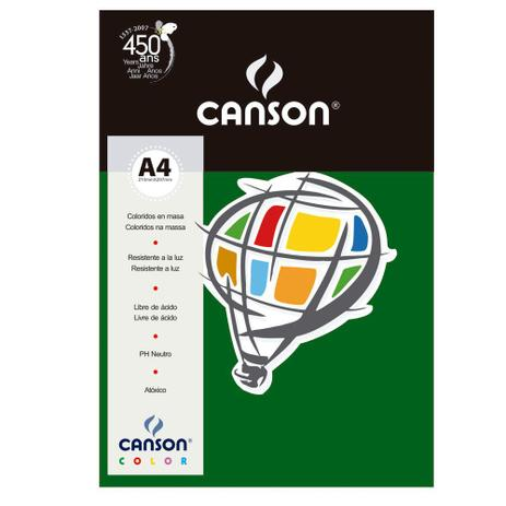 Imagem de Pacote Canson Color Verde Amazonas 180g/m² A4 210 x 297 mm com 10 Folhas - 66661266