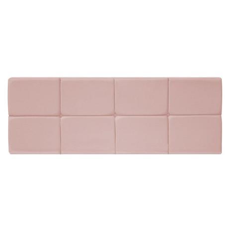 Imagem de Painel Cabeceira Estofada Nina 140 cm para Cama Box de Casal Suede Rosê Quarto - AM Decor