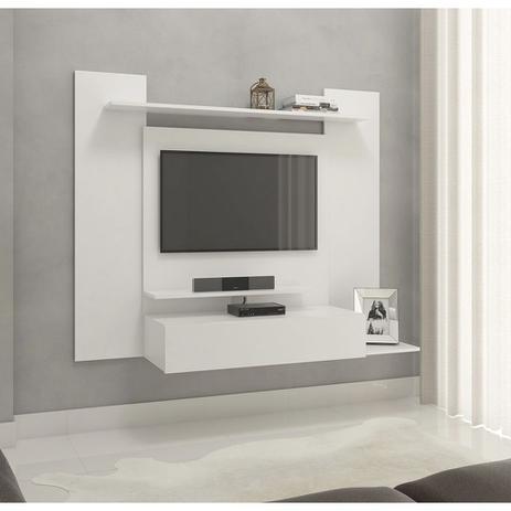 Imagem de Painel para tv até 43 pol. modelo 02 com 01 gaveta e 03 prateleiras - drw móveis - branco