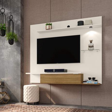 Imagem de Painel para TV até 55 Polegadas Ubatuba Tradicional Moderno Móveis Bechara Off-White/Cinamomo