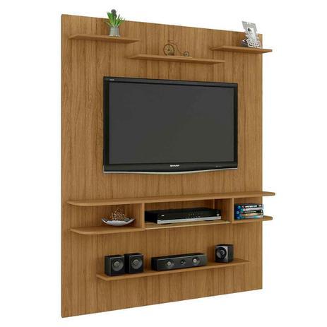 Imagem de painel suspenso de tv 55 pol 180 x 140 cm prateleiras marrom