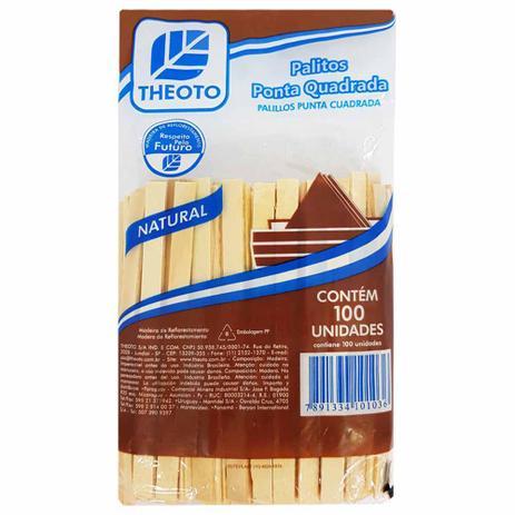 Imagem de Palito de Sorvete Madeira Quadrado Theoto 100 Unidades